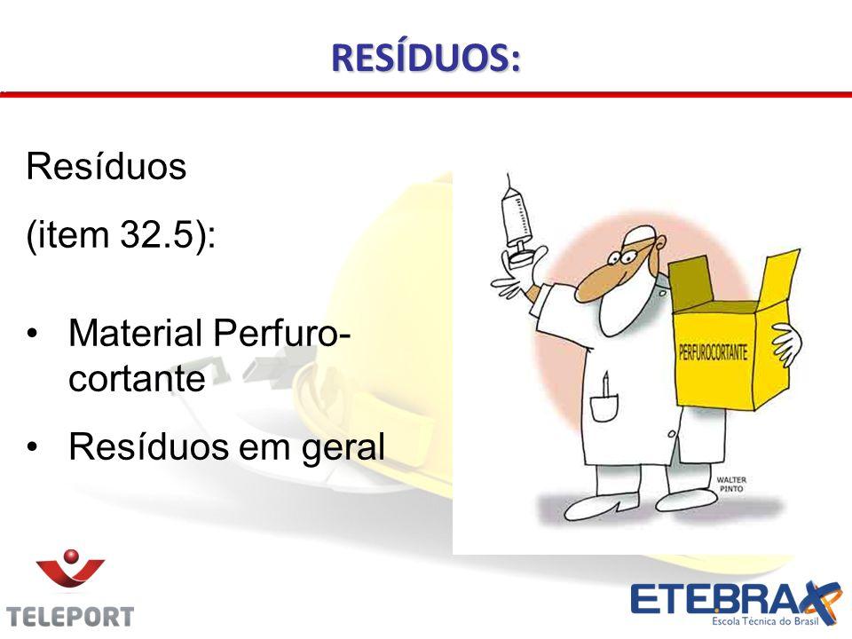 RESÍDUOS: Resíduos (item 32.5): Material Perfuro-cortante