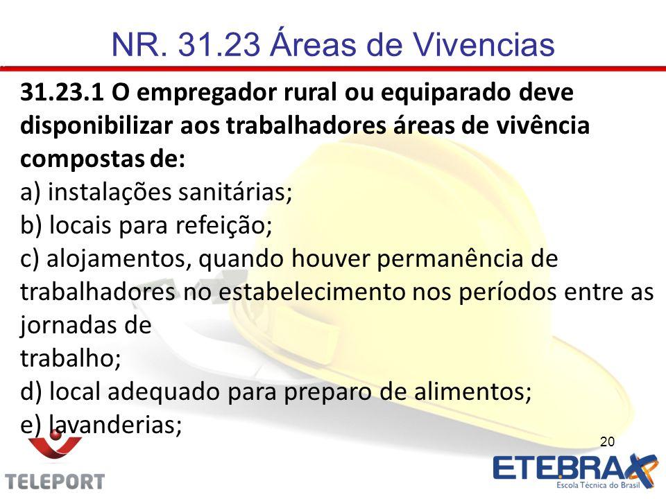 NR. 31.23 Áreas de Vivencias 31.23.1 O empregador rural ou equiparado deve disponibilizar aos trabalhadores áreas de vivência compostas de: