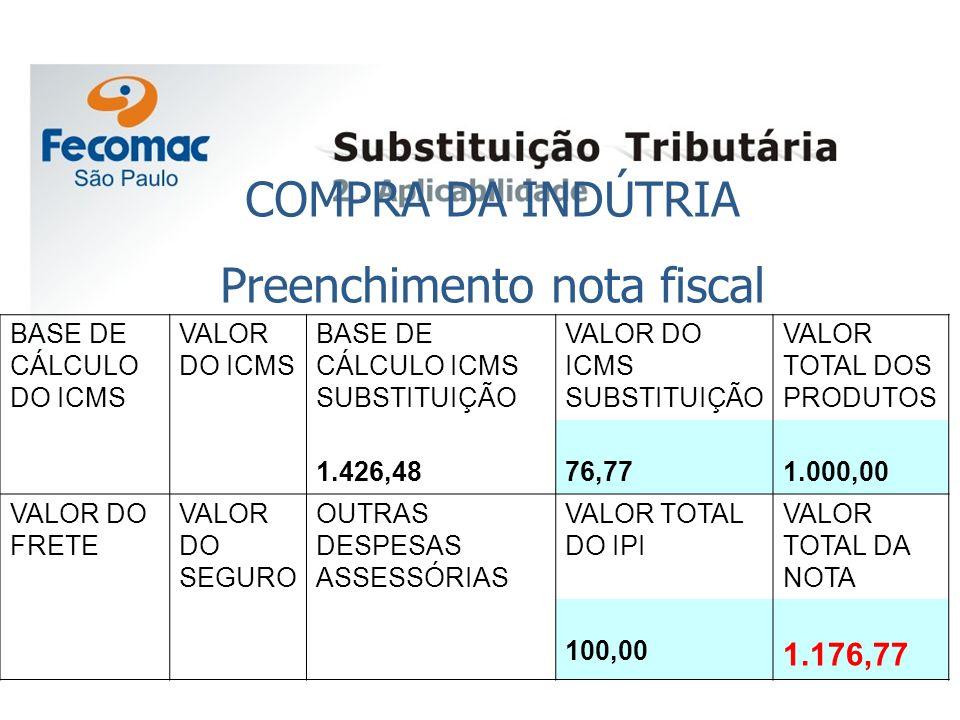 Preenchimento nota fiscal
