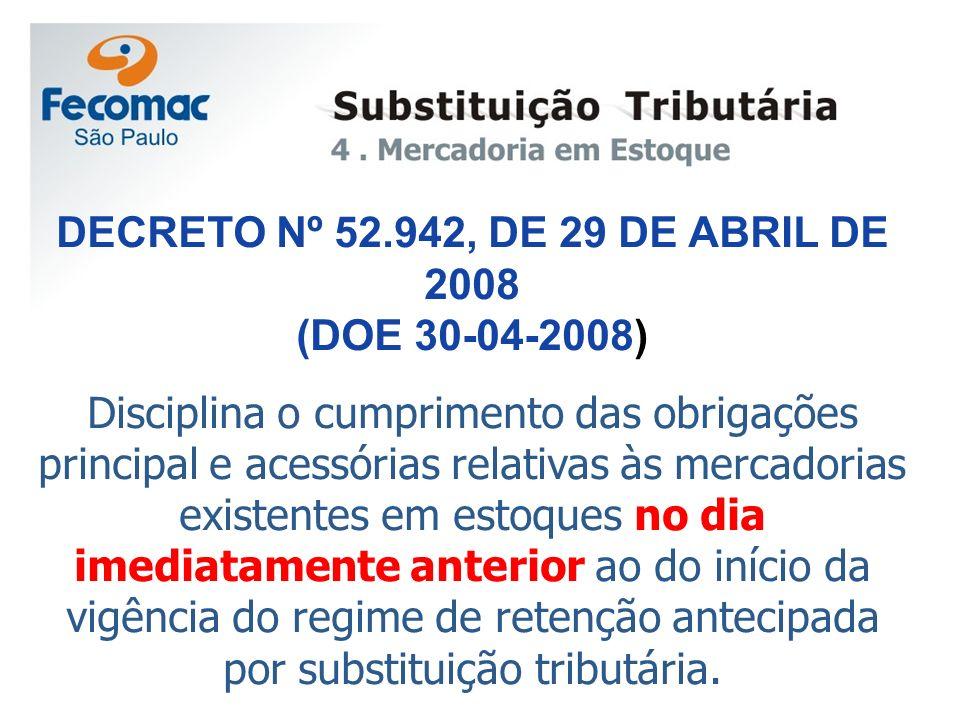 DECRETO Nº 52.942, DE 29 DE ABRIL DE 2008