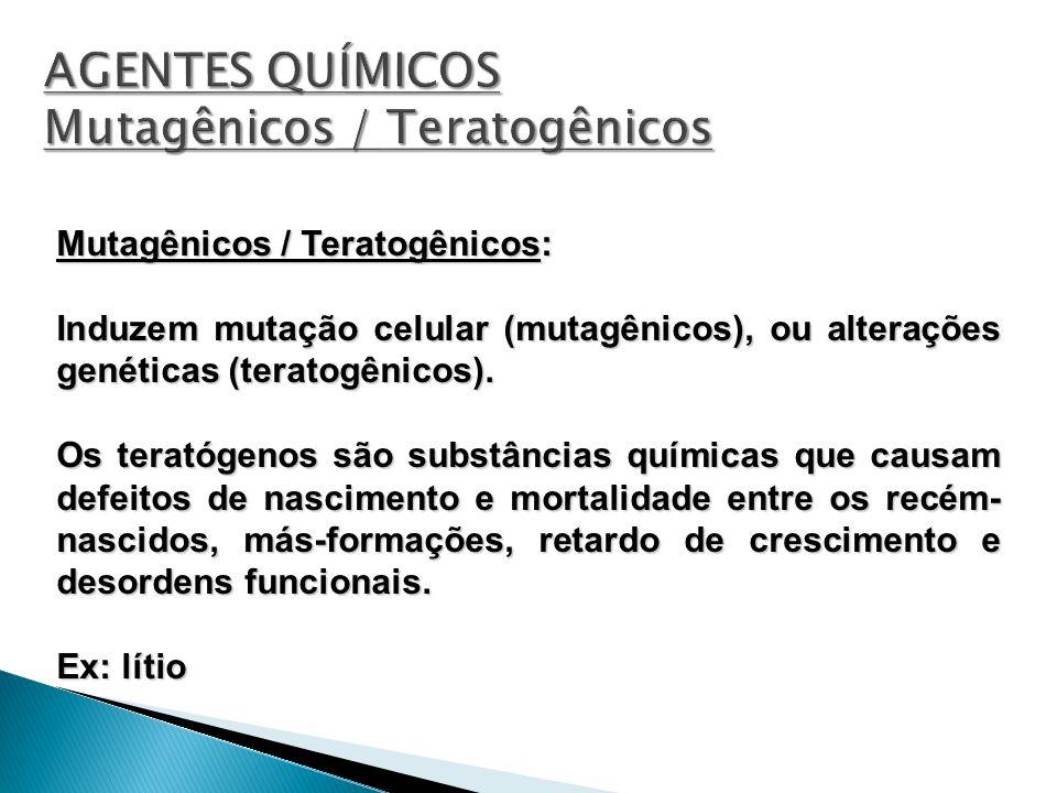 AGENTES QUÍMICOS Mutagênicos / Teratogênicos
