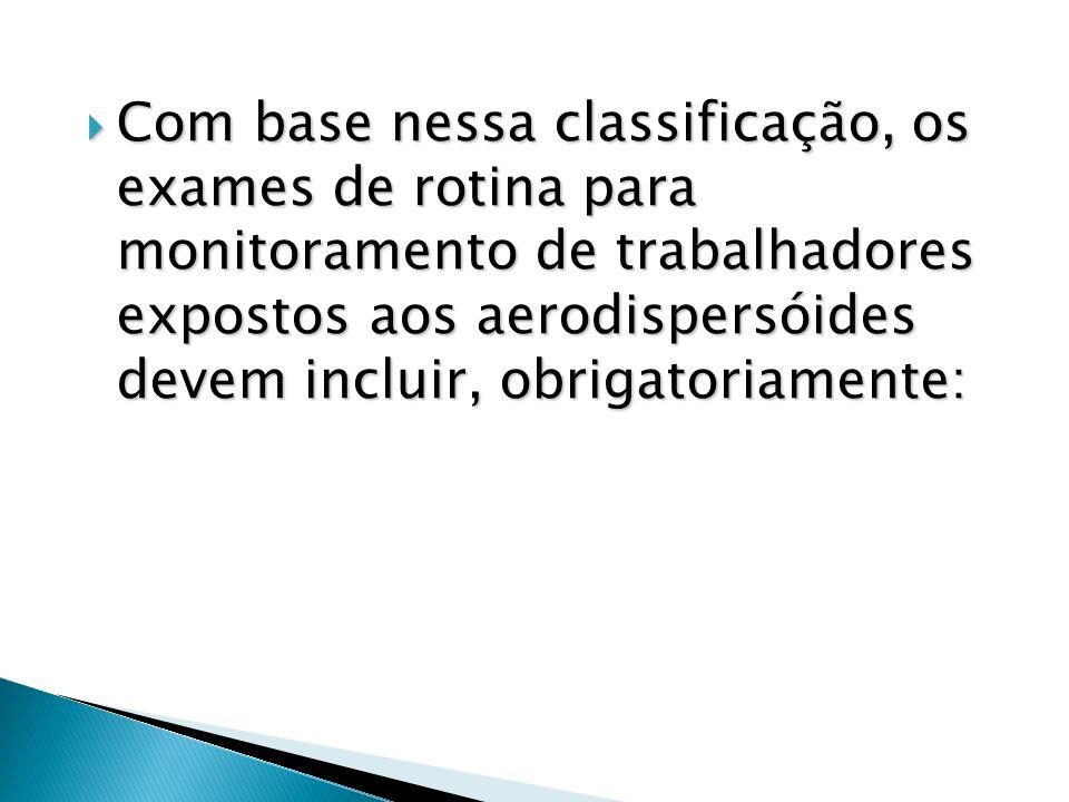 Com base nessa classificação, os exames de rotina para monitoramento de trabalhadores expostos aos aerodispersóides devem incluir, obrigatoriamente: