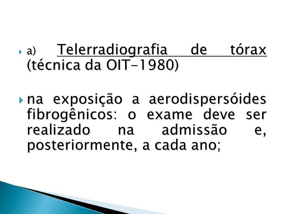a) Telerradiografia de tórax (técnica da OIT-1980)