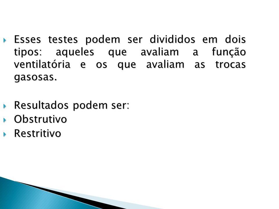Esses testes podem ser divididos em dois tipos: aqueles que avaliam a função ventilatória e os que avaliam as trocas gasosas.