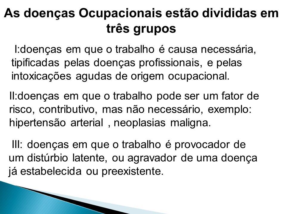 As doenças Ocupacionais estão divididas em três grupos