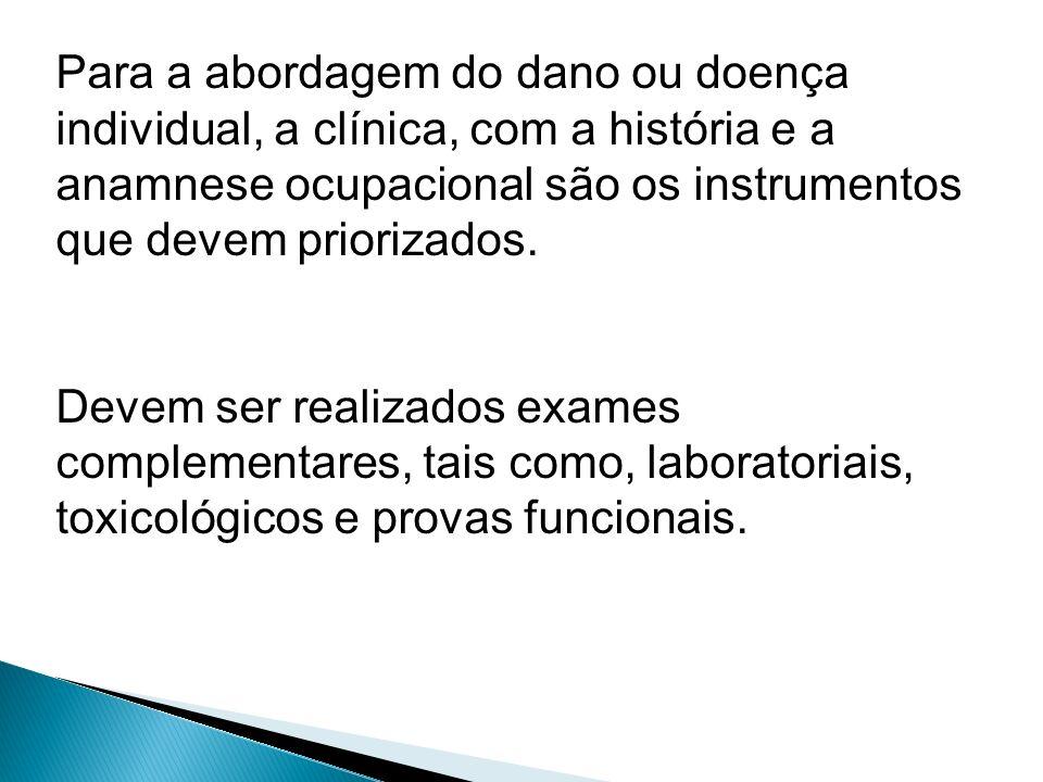 Para a abordagem do dano ou doença individual, a clínica, com a história e a anamnese ocupacional são os instrumentos que devem priorizados.