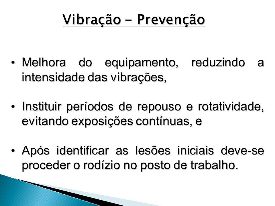 Vibração - Prevenção Melhora do equipamento, reduzindo a intensidade das vibrações,