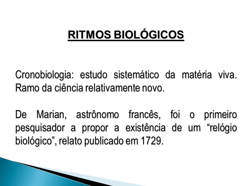 RITMOS BIOLÓGICOS Cronobiologia: estudo sistemático da matéria viva. Ramo da ciência relativamente novo.