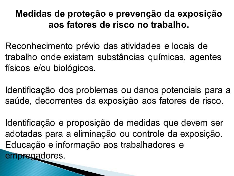 Medidas de proteção e prevenção da exposição aos fatores de risco no trabalho.
