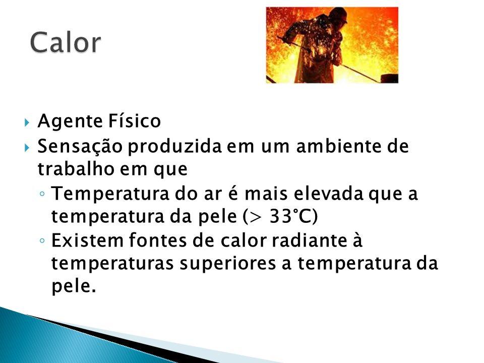 Calor Agente Físico. Sensação produzida em um ambiente de trabalho em que. Temperatura do ar é mais elevada que a temperatura da pele (> 33°C)