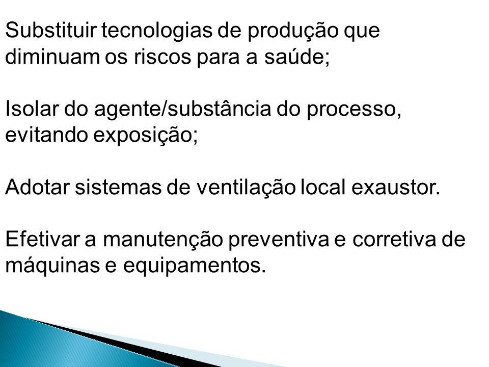 Substituir tecnologias de produção que diminuam os riscos para a saúde;