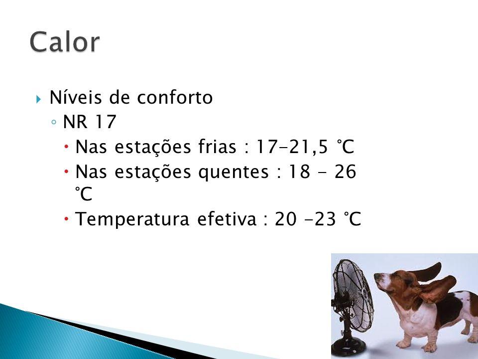 Calor Níveis de conforto NR 17 Nas estações frias : 17-21,5 °C