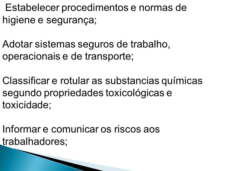 Estabelecer procedimentos e normas de higiene e segurança;