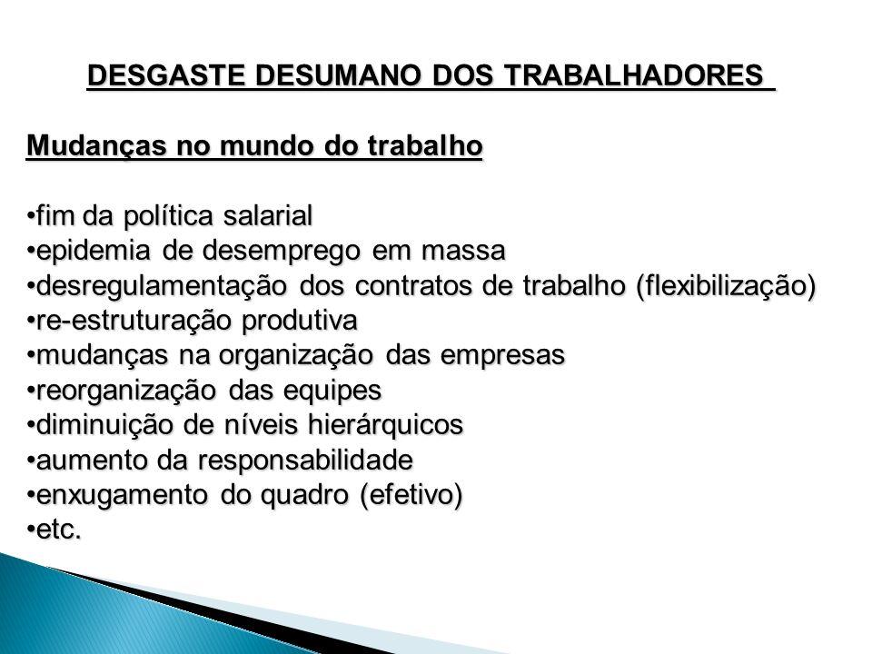 DESGASTE DESUMANO DOS TRABALHADORES