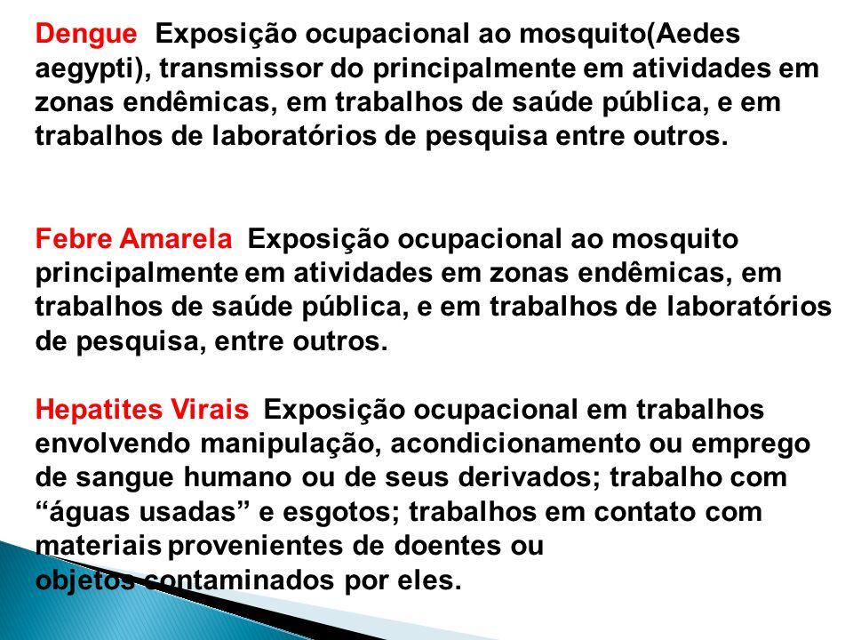 Dengue Exposição ocupacional ao mosquito(Aedes aegypti), transmissor do principalmente em atividades em zonas endêmicas, em trabalhos de saúde pública, e em trabalhos de laboratórios de pesquisa entre outros.