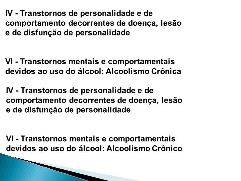 IV - Transtornos de personalidade e de
