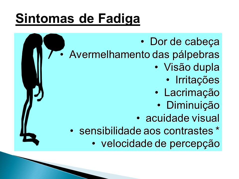 Sintomas de Fadiga Dor de cabeça Avermelhamento das pálpebras