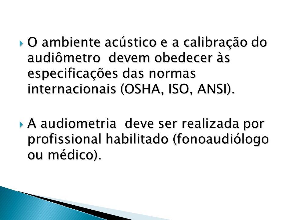O ambiente acústico e a calibração do audiômetro devem obedecer às especificações das normas internacionais (OSHA, ISO, ANSI).