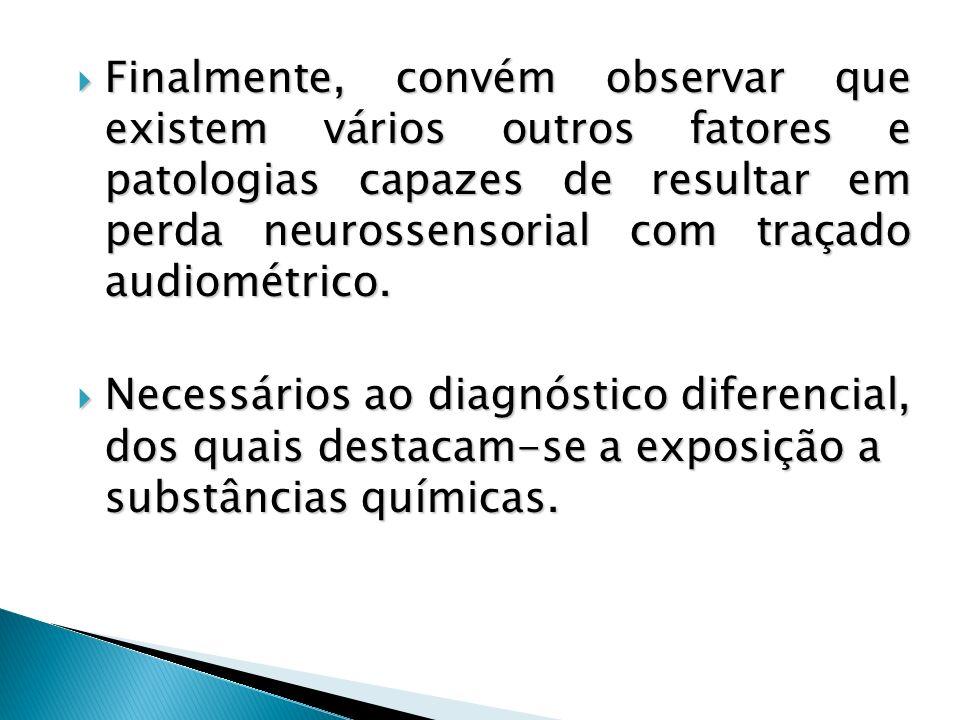 Finalmente, convém observar que existem vários outros fatores e patologias capazes de resultar em perda neurossensorial com traçado audiométrico.