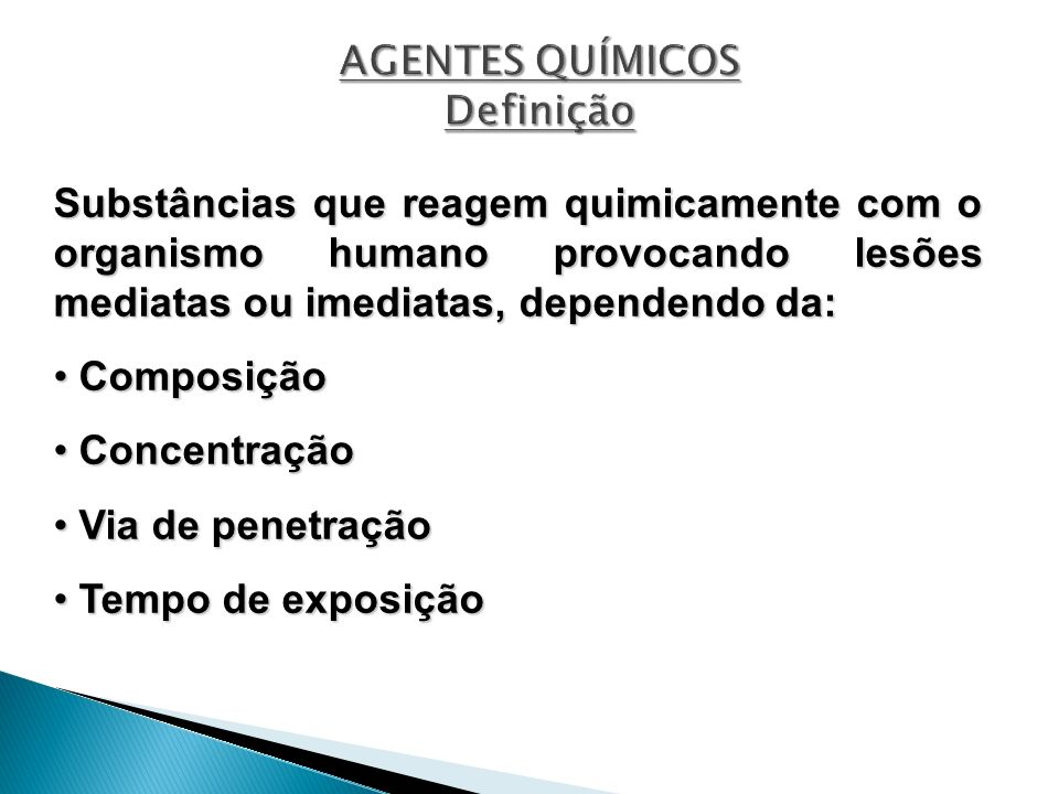 AGENTES QUÍMICOS Definição