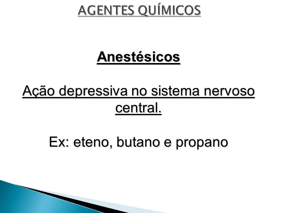 Ação depressiva no sistema nervoso central.