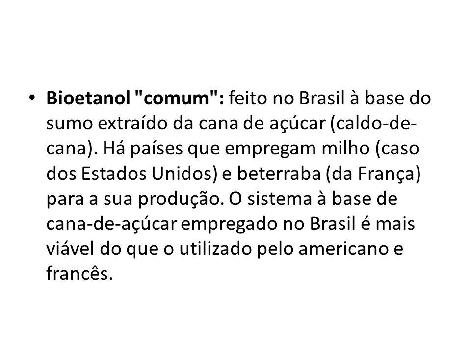 Bioetanol comum : feito no Brasil à base do sumo extraído da cana de açúcar (caldo-de-cana).