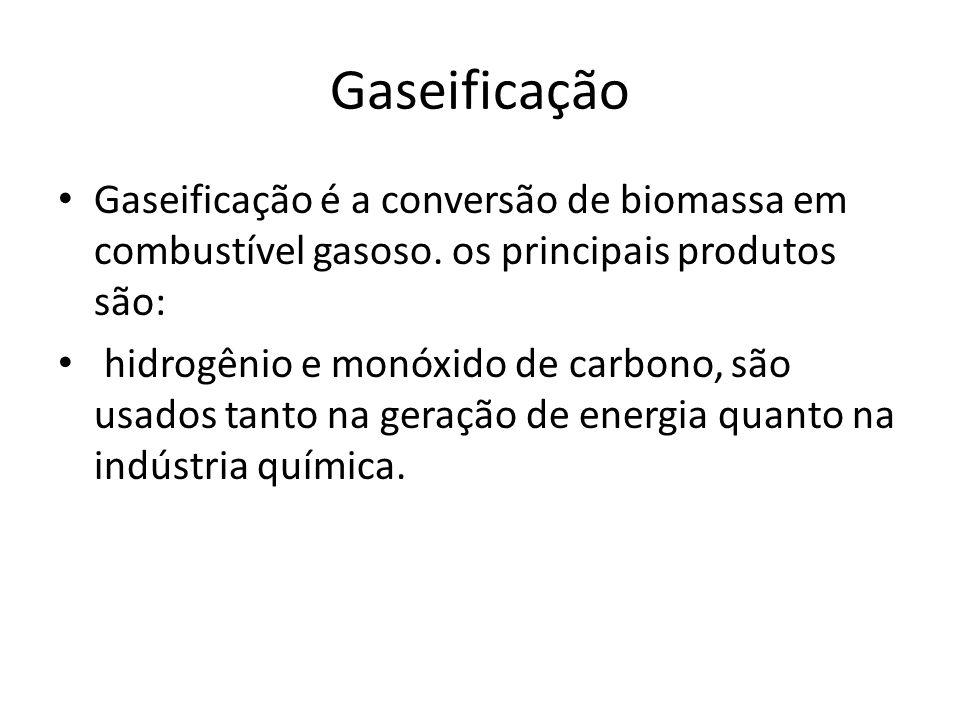 Gaseificação Gaseificação é a conversão de biomassa em combustível gasoso. os principais produtos são: