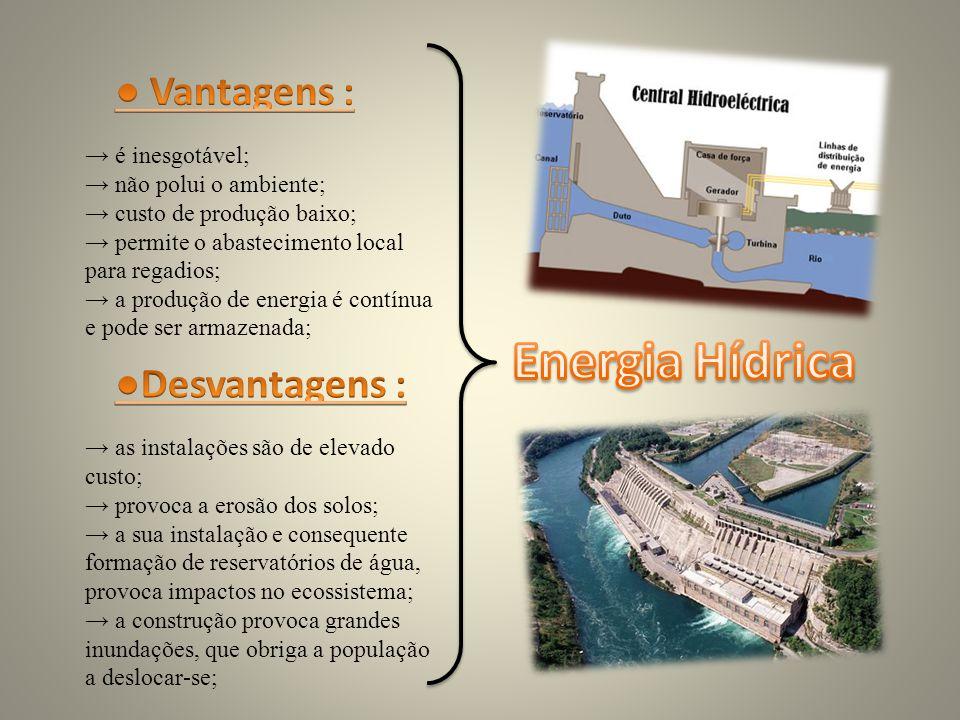 Energia Hídrica ● Vantagens : ●Desvantagens : → é inesgotável;