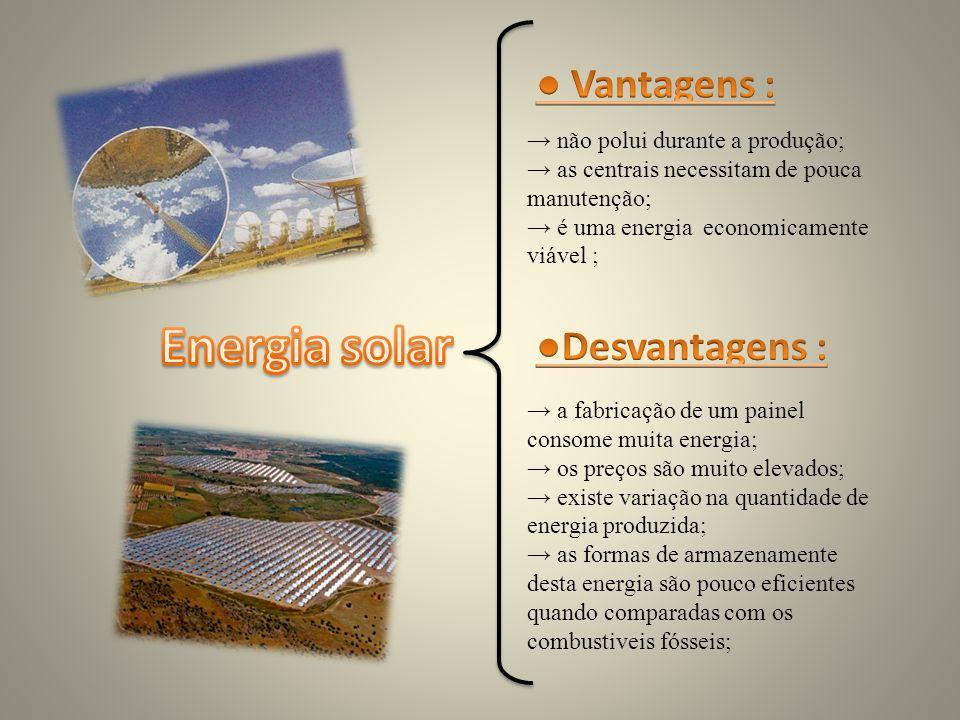 Energia solar ● Vantagens : ●Desvantagens :