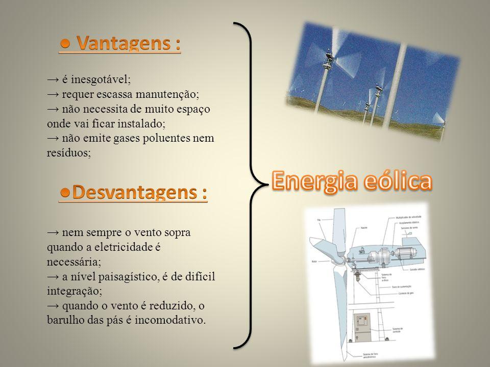 Energia eólica ● Vantagens : ●Desvantagens : → é inesgotável;