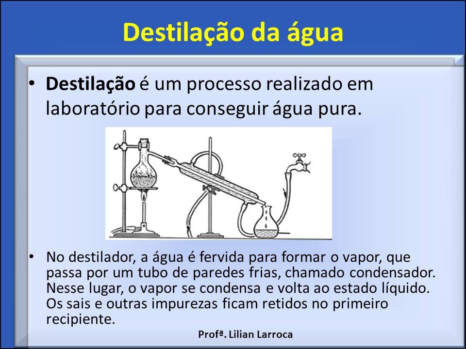 Destilação da água Destilação é um processo realizado em laboratório para conseguir água pura.