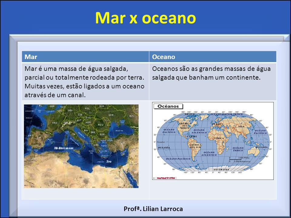 Mar x oceano Mar. Oceano. Mar é uma massa de água salgada, parcial ou totalmente rodeada por terra.