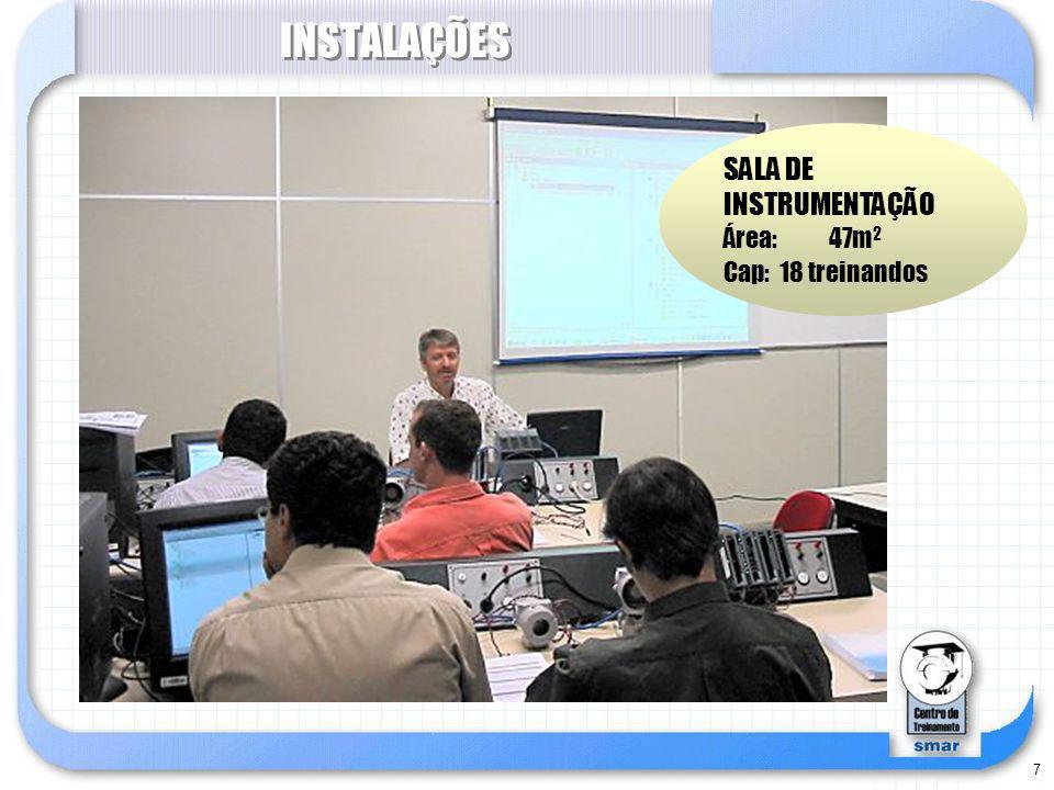 INSTALAÇÕES SALA DE INSTRUMENTAÇÃO Área: 47m2 Cap: 18 treinandos