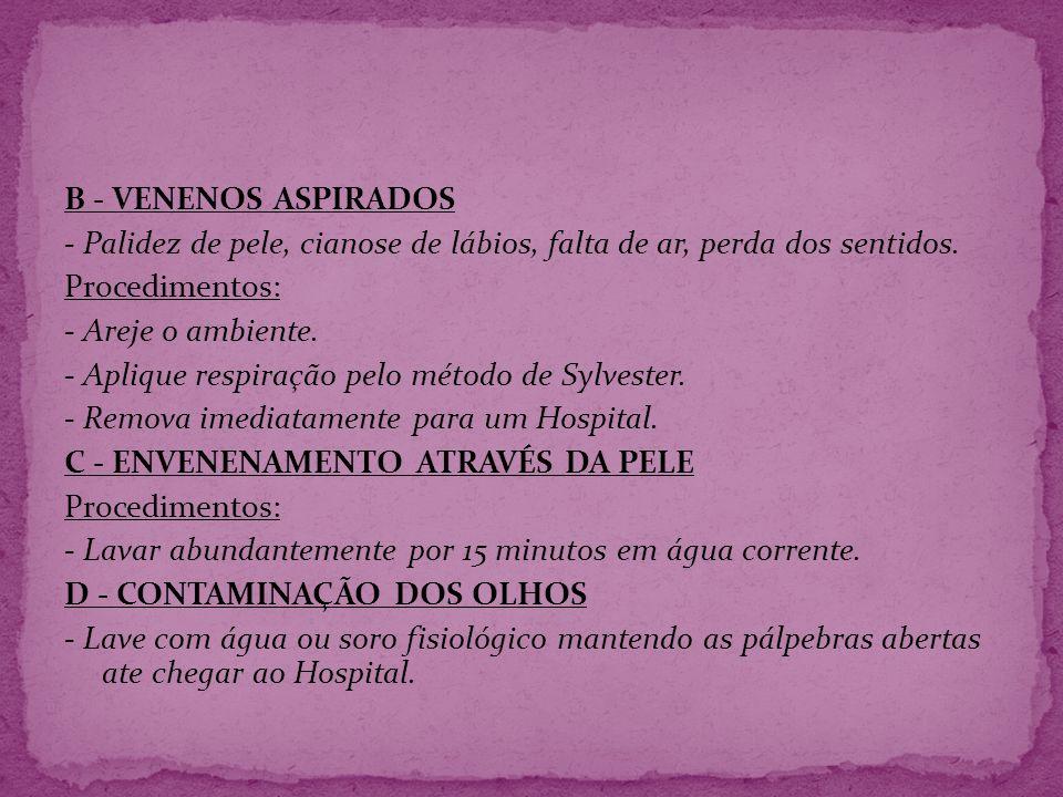 B - VENENOS ASPIRADOS - Palidez de pele, cianose de lábios, falta de ar, perda dos sentidos. Procedimentos: