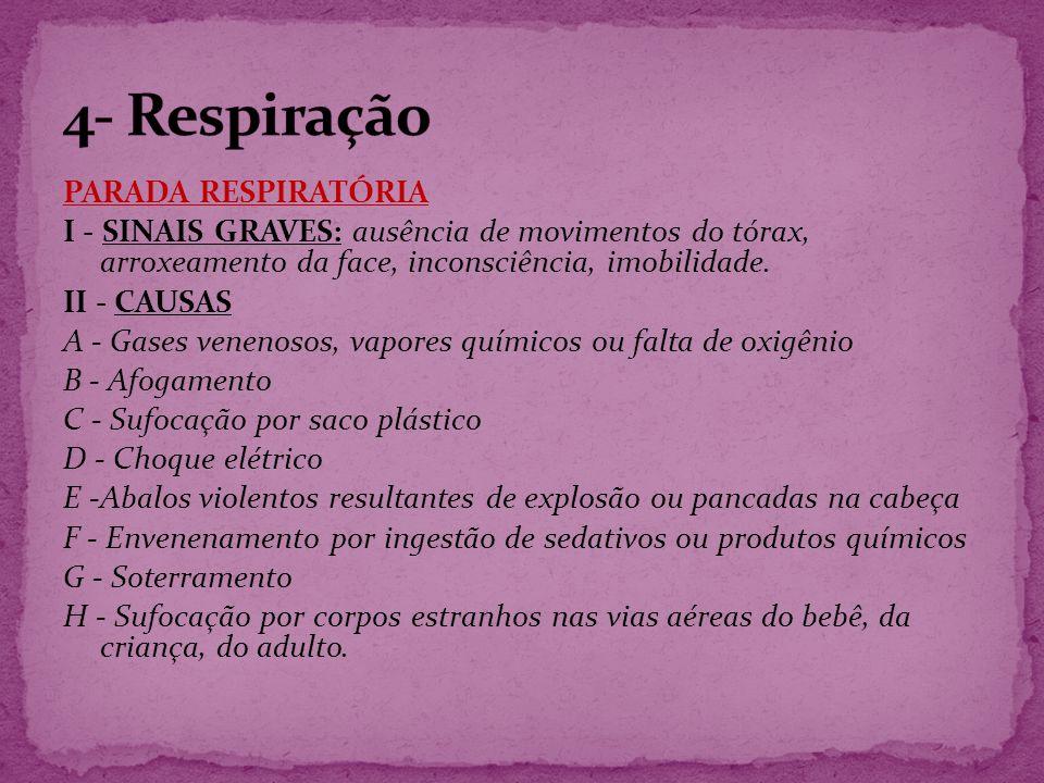 4- Respiração PARADA RESPIRATÓRIA