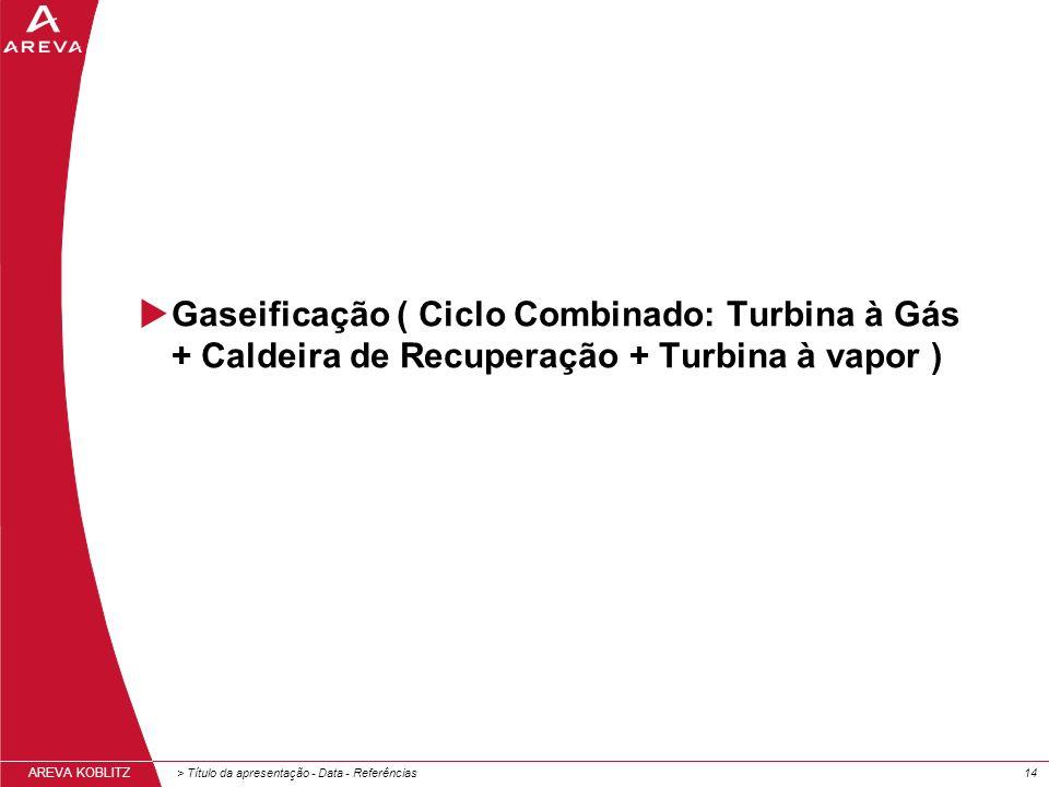 Gaseificação ( Ciclo Combinado: Turbina à Gás + Caldeira de Recuperação + Turbina à vapor )