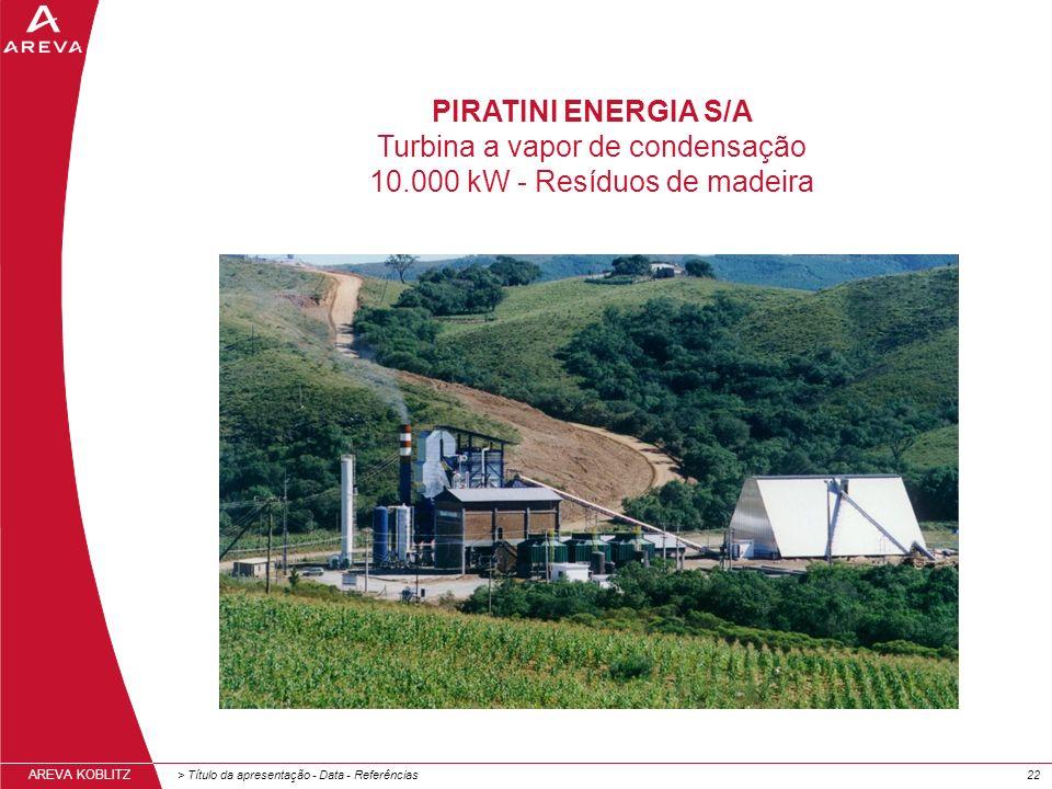 Turbina a vapor de condensação 10.000 kW - Resíduos de madeira