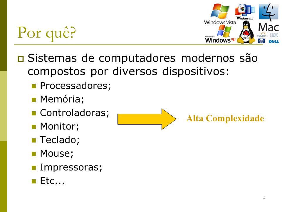 Por quê Sistemas de computadores modernos são compostos por diversos dispositivos: Processadores;