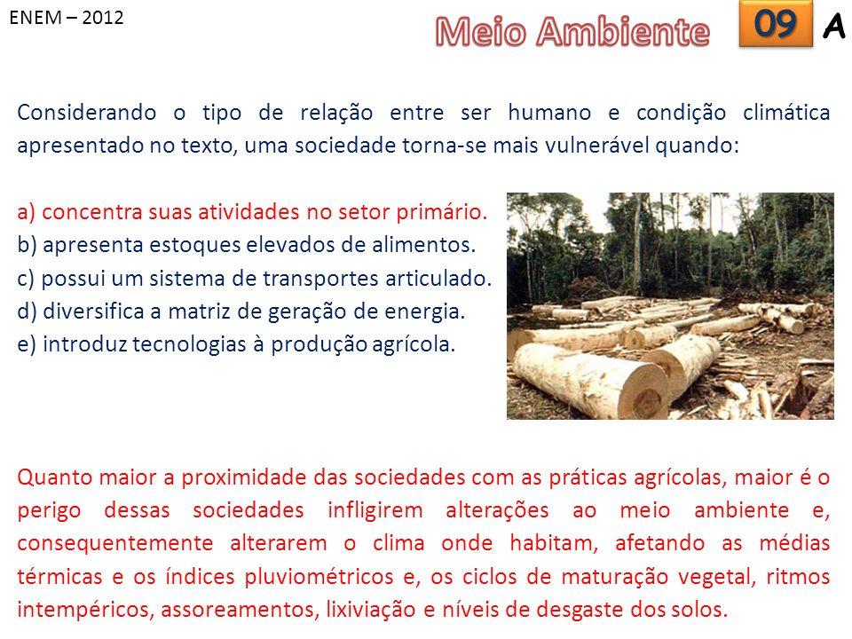 ENEM – 2012 Meio Ambiente. 09. A.