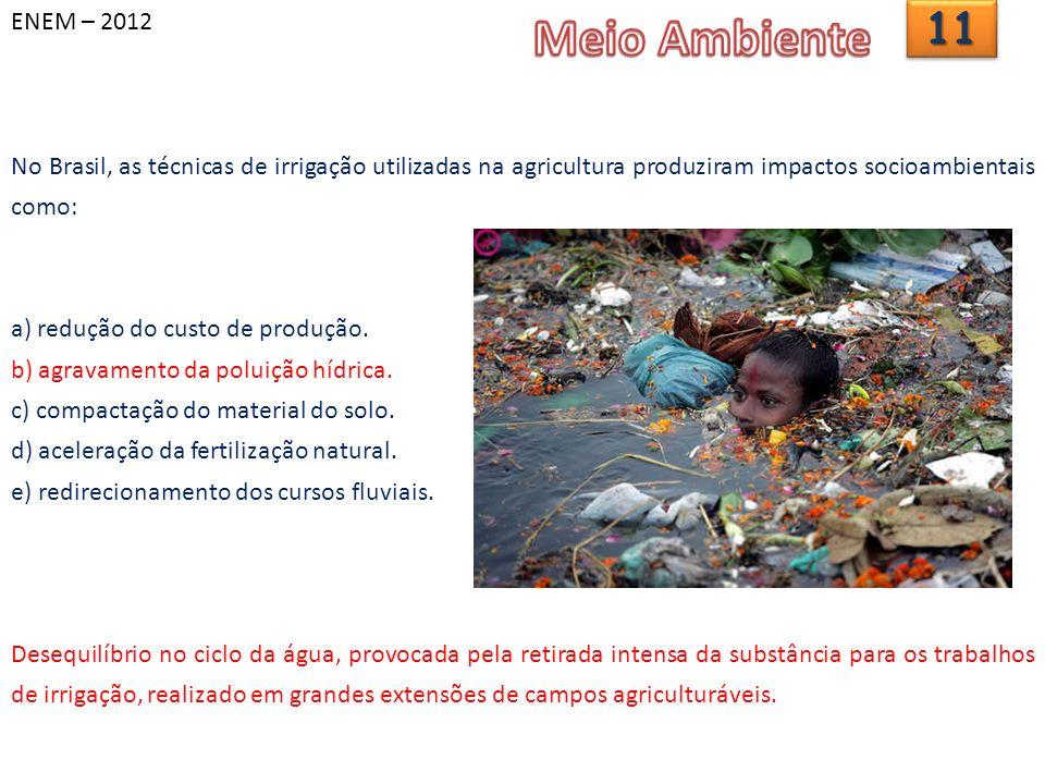 ENEM – 2012 Meio Ambiente. 11. No Brasil, as técnicas de irrigação utilizadas na agricultura produziram impactos socioambientais como: