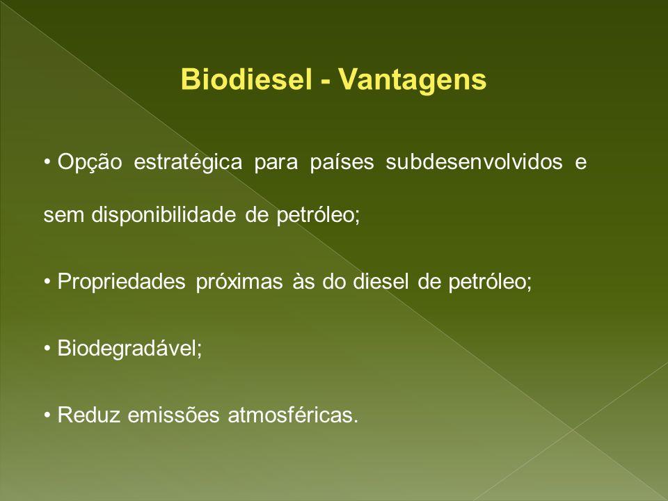 Biodiesel - Vantagens Opção estratégica para países subdesenvolvidos e sem disponibilidade de petróleo;
