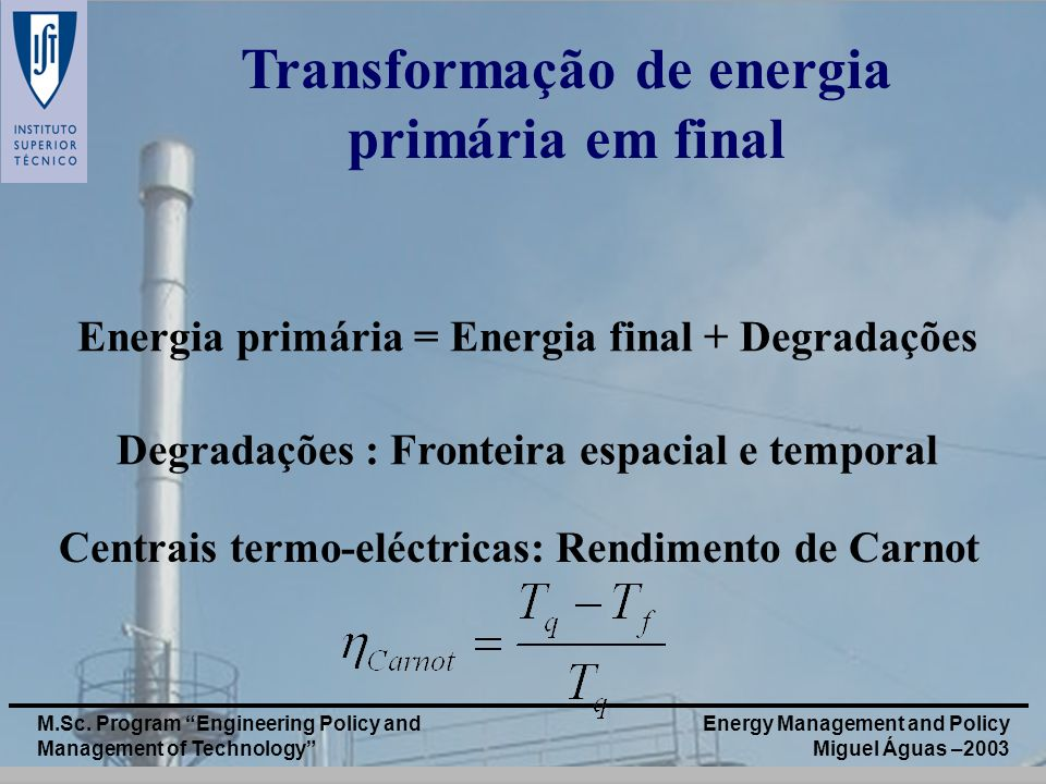 Transformação de energia primária em final