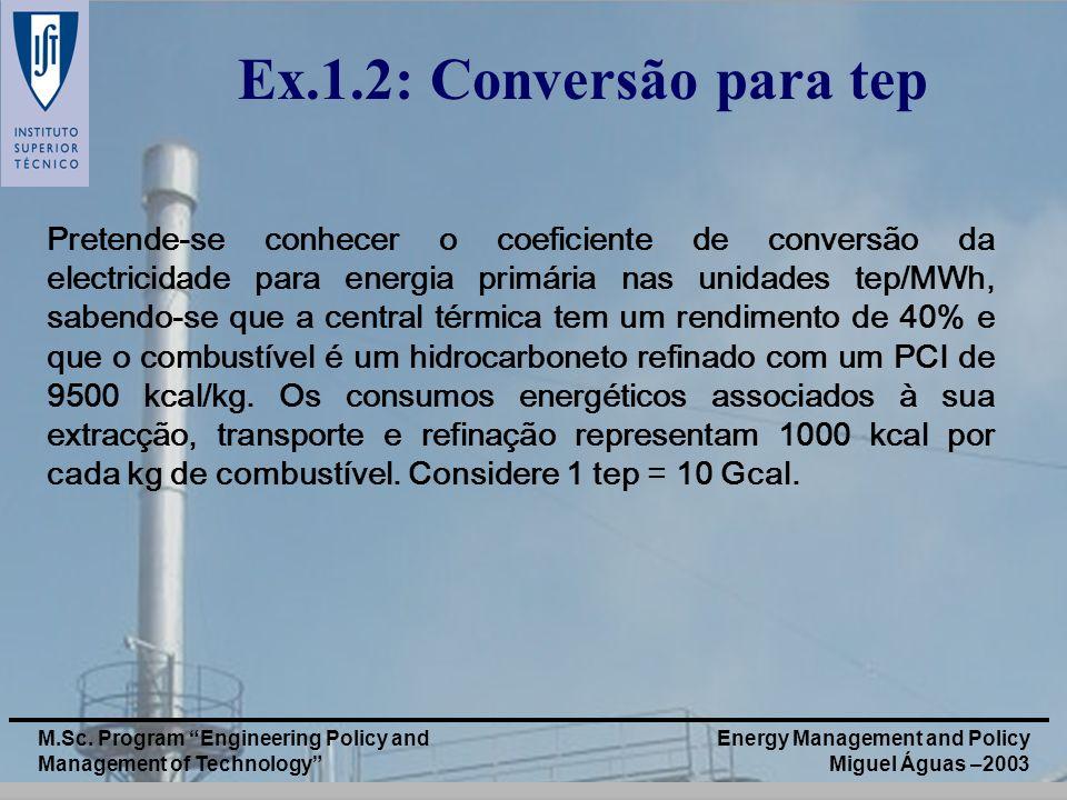 Ex.1.2: Conversão para tep