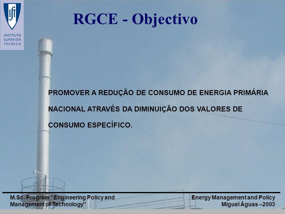 RGCE - Objectivo PROMOVER A REDUÇÃO DE CONSUMO DE ENERGIA PRIMÁRIA