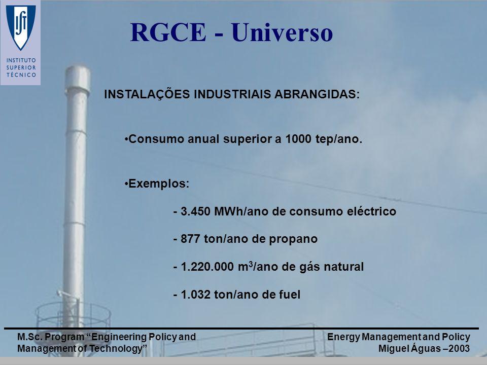RGCE - Universo INSTALAÇÕES INDUSTRIAIS ABRANGIDAS:
