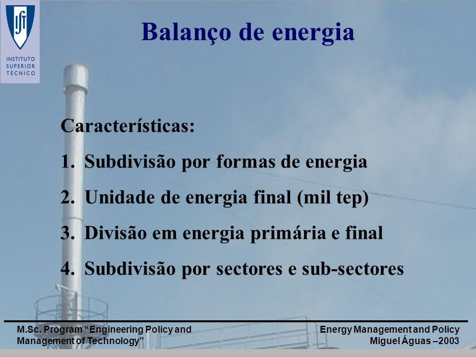 Balanço de energia Características: Subdivisão por formas de energia
