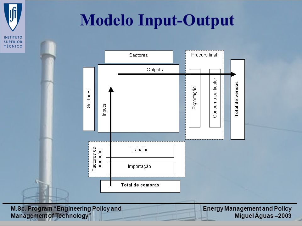 Modelo Input-Output M.Sc. Program Engineering Policy and Management of Technology