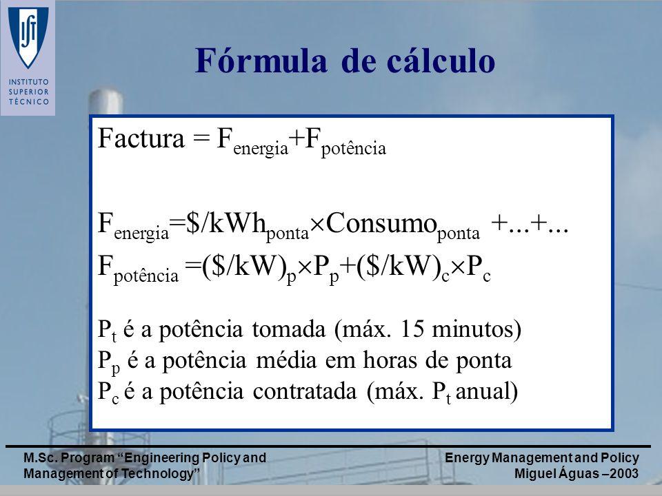 Fórmula de cálculo Factura = Fenergia+Fpotência