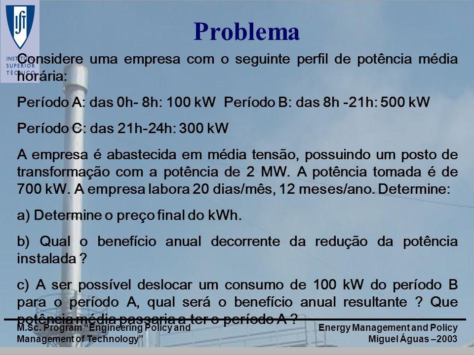 Problema Considere uma empresa com o seguinte perfil de potência média horária: Período A: das 0h- 8h: 100 kW Período B: das 8h -21h: 500 kW.