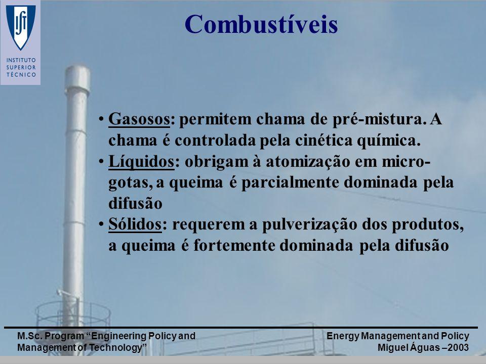 Combustíveis Gasosos: permitem chama de pré-mistura. A chama é controlada pela cinética química.